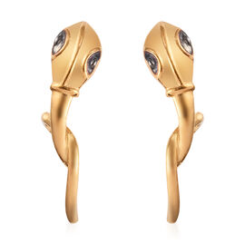 Designer Inspired - 14K Gold and Black Overlay Sterling Silver Serpent Earrings (with Push Back)