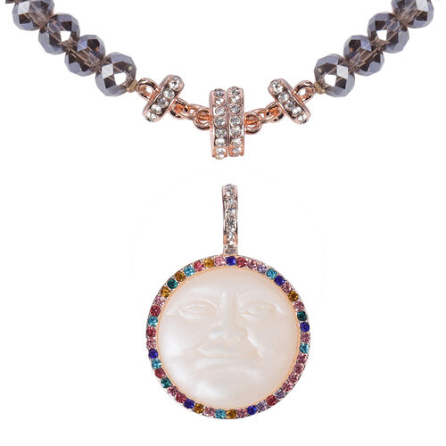 Multi Colour Austrian Crystal and Multi Gemstone Detachable with Magnet Pendant Necklace (Size 20)