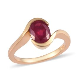 African Ruby Solitaire Ring in 14K Gold Overlay Sterling Silver 1.28 Ct.