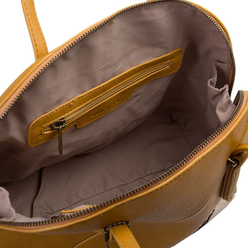 Bulaggi Collection - Flora Handbag with Zipper Closure (33x24x14cm) - Mustard