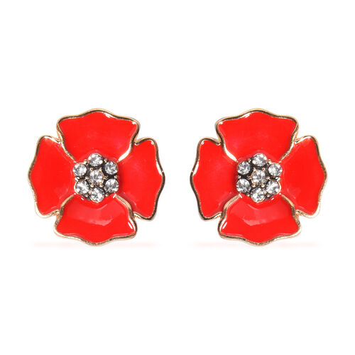 TJC Poppy Design - Black Austrian Crystal Enamelled Poppy Cufflink in Gold Tone