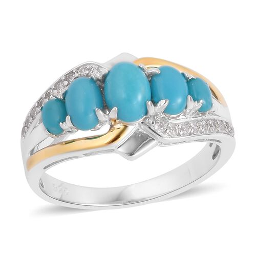 AA Arizona Sleeping Beauty Turquoise (Ovl), Natural White Cambodian Zircon Ring in Rhodium and Yellow Gold Overlay Sterling Silver 1.820 Ct.