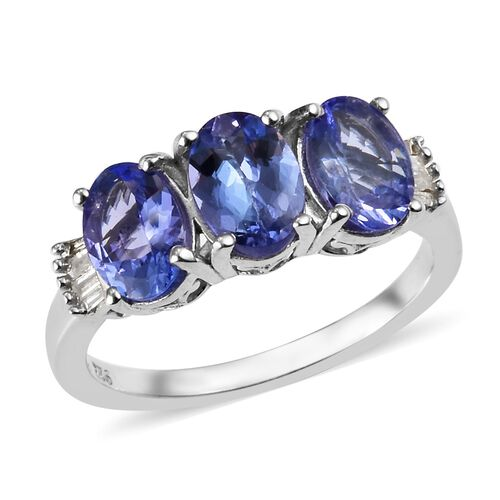 2.25 Ct Tanzanite and Diamond Trilogy Ring in Platinum Plated Sterling Silver