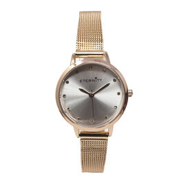 Close Out Deal- ETERNITY Swarovski Studded Ladies Watch with Rose Gold Tone Mesh Strap