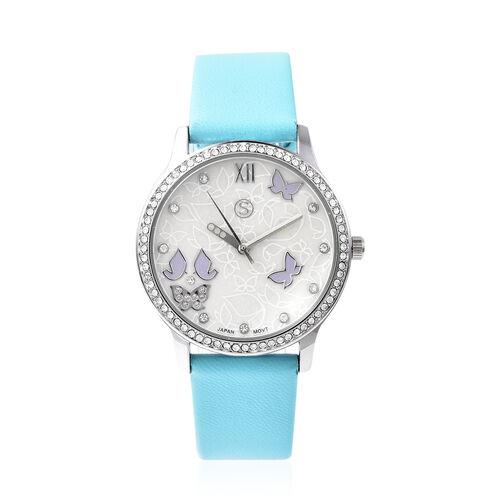 3 Piece Set - Simulated Diamond, Turquoise Shell Pearl and White Austrian Crystal Butterfly Watch with Turquoise Strap, Necklace and Earrings