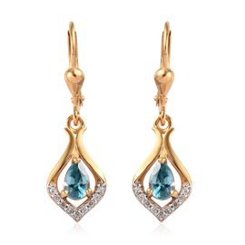Ratanakiri Blue Zircon and Natural Cambodian Zircon Lever Back Earrings in 14K Gold Overlay Sterling