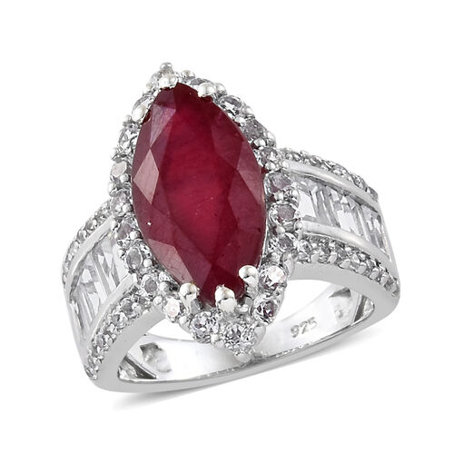 African Ruby (Mrq 5.80 Ct), White Topaz Ring in Platinum Overlay Sterling Silver 8.500 Ct.