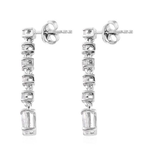 J Francis - Platinum Overlay Sterling Silver (Pear and Rnd) Drop Dangle Earrings (with Push Back) Made with SWAROVSKI ZIRCONIA