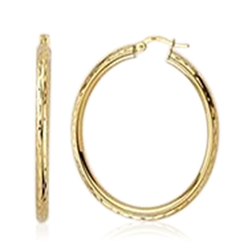Vicenza Collection Diamond Cut Sleeper Hoop Earrings in 9K Yellow Gold