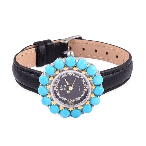 EON 1962 Japanese Movement SLEEPING BEAUTY TURQUOISE (5.70 Ct), Black Dial Water Resistant Watch in Gold Overlay Sterling Silver with Steel Back Leather Strap (Silver wt. 21.11 Gms.)