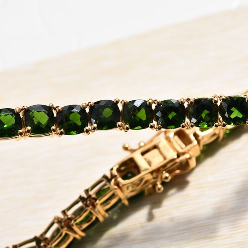 Russian Diopside (Cush) Tennis Bracelet (Size 7.5) in 14K Gold Overlay Sterling Silver 19.75 Ct, Silver wt 10.00 Gms