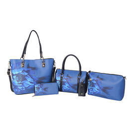 Set of 5 - Floral Pattern Tote Bag (29x12.5x30cm), Convertible Bag (27.5x13x19cm), Crossbody Bag (12