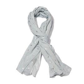 New for Season - 100% Cotton Pale Blue Colour Scarf with Silver Foil Star Print (Size 180x110 Cm)