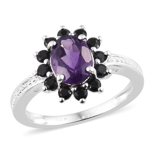 Amethyst (Ovl), Boi Ploi Black Spinel Ring in Sterling Silver 1.750 Ct.