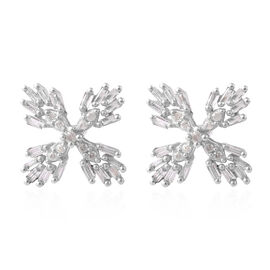 9K White Gold SGL Certified Diamond (Bgt and Rnd) (G-H/I3) Earrings (with Push Back) 0.33 Ct.