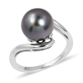 Tahitian Pearl (Rnd) Ring (Size T) in Rhodium Overlay Sterling Silver