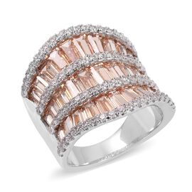 Simulated Champagne Diamond and Simulated Diamond Band Ring in Silver Tone