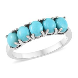 1.75 Ct AA Arizona Sleeping Beauty Turquoise Five Stone Ring in Platinum Plated Sterling Silver