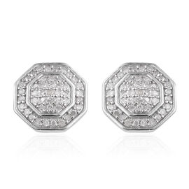 Diamond (Rnd) Stud Earrings in Platinum Overlay Sterling Silver 0.500 Ct.