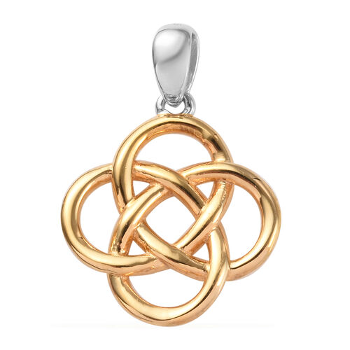Platinum and Yellow Gold Overlay Sterling Silver Celtic Knot Pendant
