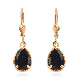 3.50 Ct Black Tourmaline Solitaire Drop Earrings in Gold Plated Sterling Silver