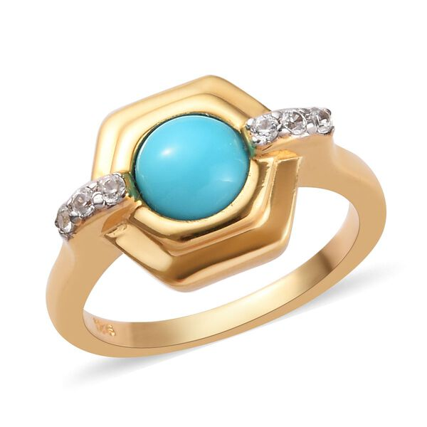 Sleeping Beauty Turquoise and Zircon Solitaire Ring in 14K Gold Plated Sterling Silver,1.12 Ct