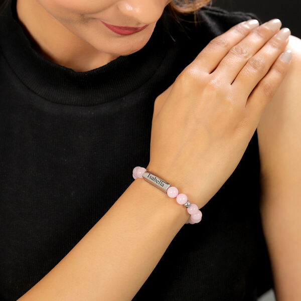 Personalised Engravable Bar Rose Quartz Beads Bracelet Size 7-7.5Inch