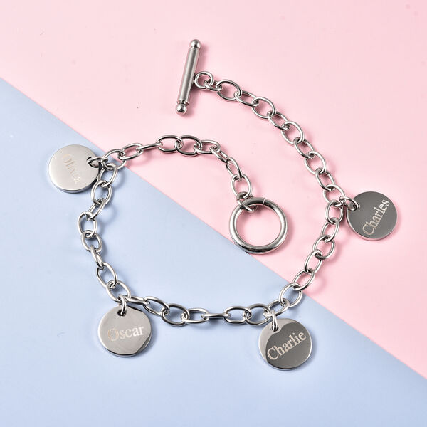 Personalised Engravable 4 Disc Charm Bracelet, in Stainless Steel 8.5inches