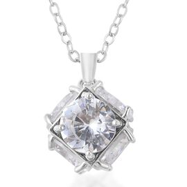 Simulated Diamond Solitaire Pendant with Chain 28 with 2 inch Extender