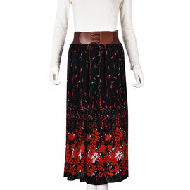 White and Red Floral Pattern Long Skirt with Elastic Waistband (Size 85 Cm) - Black
