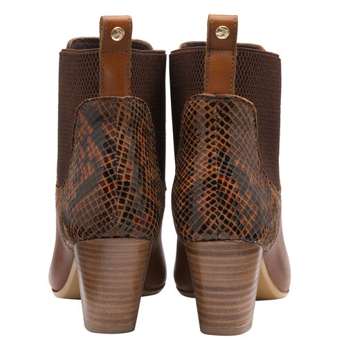 Ravel Moa Snake Pattern Leather Heeled Ankle Boots (Size 5) - Tan