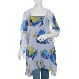 Designer Inspired - Blue, White, Yellow and Multi Colour Fish Pattern kaftan (Size 90x65 Cm)