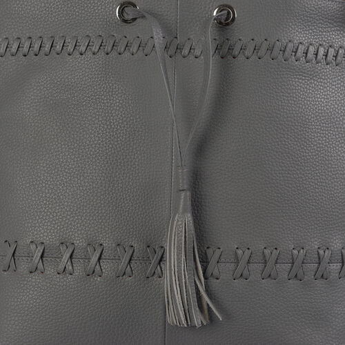 Super Soft100% Genuine Leather Grey Colour Surreal Grey Draw String Bag (Size 31x29x12 Cm)