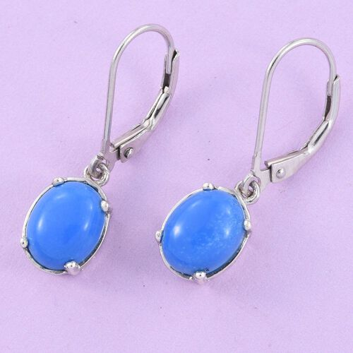 Ceruleite (Ovl) Lever Back Earrings in Platinum Overlay Sterling Silver 2.750 Ct.