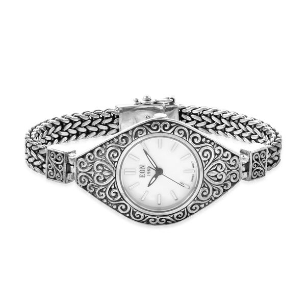 Royal Bali Collection EON 1962 Swiss Movement Water Resistant Watch (Size 7.25) in Sterling Silver, Silver wt. 37.66 Gms