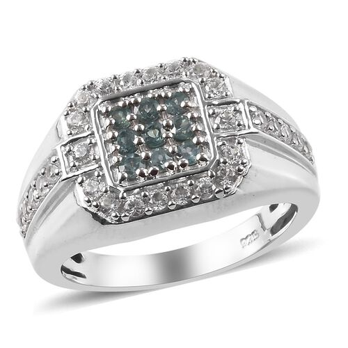 0.91 Ct Narsipatnam Alexandrite and Zircon Cluster Ring in Platinum Plated Sterling Silver