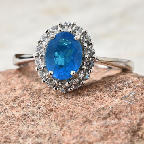 Limited Edition- 9K White Gold AAA Very Rare Size Malgache Neon Apatite (Ovl  8.6X6.5 mm1.55 Ct), Natural Cambodian Zircon Ring 2.250 Ct..