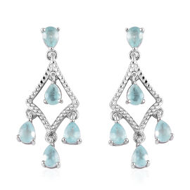 Grandidierite (Pear) Chandelier Earrings (with Push Back) in Platinum Overlay Sterling Silver 1.50 C