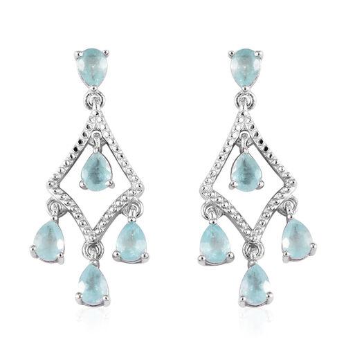 1.50 Ct Grandidierite Chandelier Earrings in Platinum Plated Sterling Silver