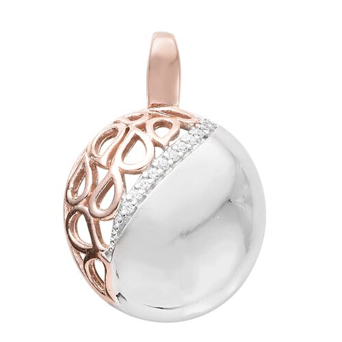 J Francis - Rose Gold and Platinum Overlay Sterling Silver Pendant Made with SWAROVSKI ZIRCONIA