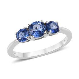 RHAPSODY 950 Platinum AAAA Royal Ceylon Sapphire (Rnd) Three Stone Ring 1.07 Ct.