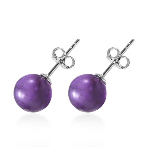 Amethyst (Rnd) Earrings (with Push Back) in Rhodium Overlay Sterling Silver 7.00 Ct.
