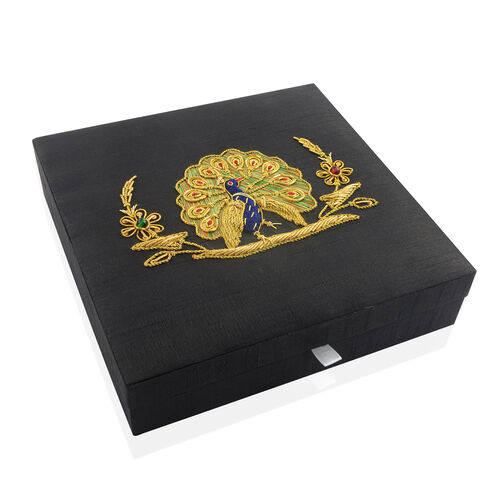 Black, Golden and Multi Colour Zari Art Work Peacock Hand Embroidered 100 Slot Ring Box (Size 25X25 Cm)