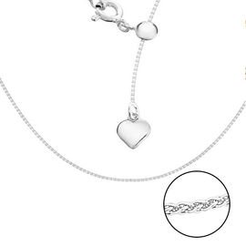 Sterling Silver Sliding Adjustable Spiga Chain (Size 20) with Charm