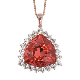 Rare Size Padparadscha Swarovski Crystal (Trl 24 mm), White Colour Crystal Pendant With Chain (Size 30) in Rose Gold Overlay Sterling Silver,