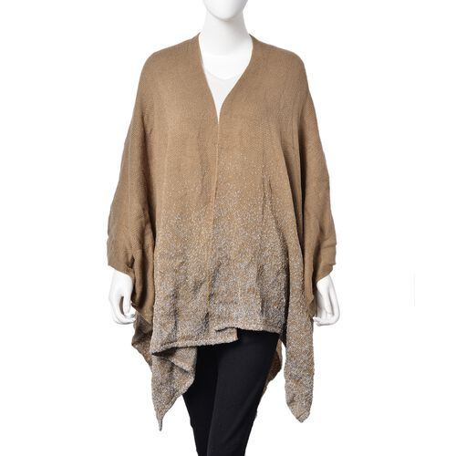 Designer Inspired-Coffee Colour Knitted Kimono (Size 120X80 Cm)