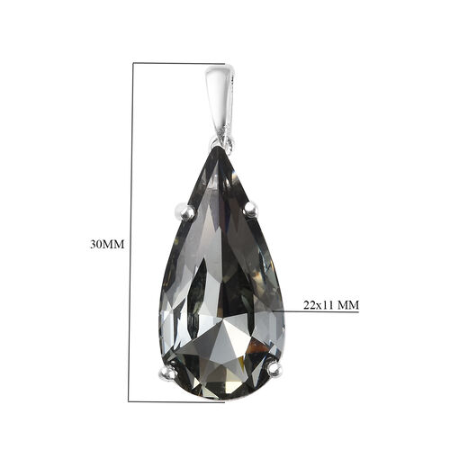 Midnight Mega Deal-- J Francis - Crystal from Swarovski Black Diamond Colour Crystal (Pear) Pendant in Sterling Silver