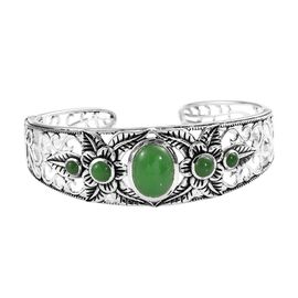 Signature Collection- Burmese Green Jade (Ovl and Rnd) Cuff Bangle (Size 7.5) in Sterling Silver 11.