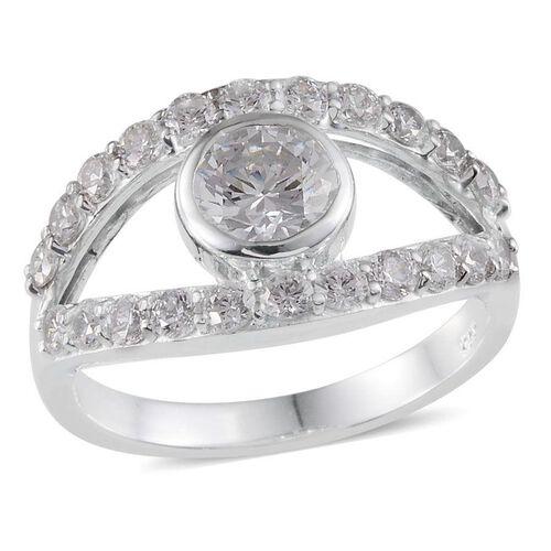J Francis - Platinum Overlay Sterling Silver (Rnd) Ring Made With SWAROVSKI ZIRCONIA 2.600 Ct.