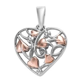 Designer Inspired- Platinum and Rose Gold Overlay Sterling Silver Heart Pendant, Silver wt 3.70 Gms